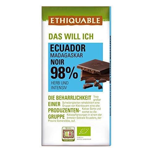 ETHIQUABLE Bio Faire Noir-Schokolade 98% Kakao aus Ecuador & Madagaskar, 10 x 100g