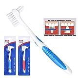 Y-Kelin Lot de 2 brosses de nettoyage pour prothèses dentaires à double poils 1 rouge, 1 bleu
