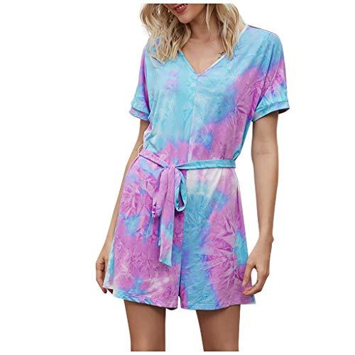 PPangUDing Kleider Jumpsuit Damen Sommer Mode Kurzarm V-Ausschnitt Tie Dye Spielanzug Streetwear Playsuit Overalls Minikleid Freizeitkleid (S, Lila)