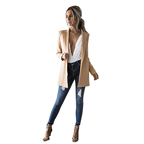 Blazer y Trajes de Oficina SUNNSEAN Chaquetas Largas Elegantes Blazer Mujer Mangas Larga Elegante Superior Oficina Traje de Chaqueta Outwear Casual Liso Abrigos Cardigan