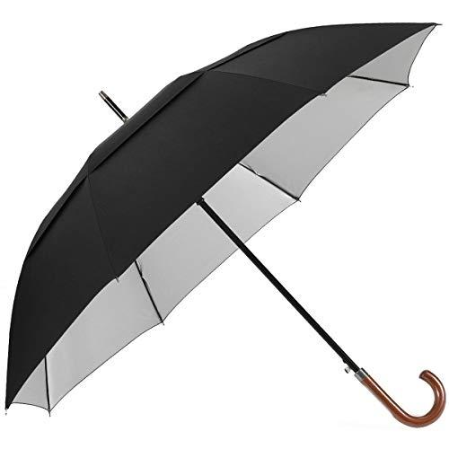 G4Free 54/62 Inch Protección UV Paraguas Clásico Abierto Automático Paraguas Doble Paraguas de Palo Grande con Mango de Madera Crook