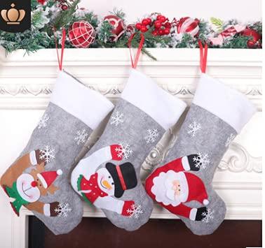 Calcetín Navidad,2 piezas grande de Navidad medias con luz LED Medias de Navidad Calcetín de Navidad Saco Bolsa de regalo Bolsa de caramelo Bolsa de caramelo Bolsa Adorno de Navidad para Navidad
