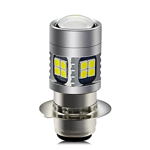 H6M LED Headlight Bulb, Ruiandsion DC 6V 12V Universal Super Bright 3030 22SMD Chips LED Bulb P15D LED Motorcycle Headlight Bulb with High Low Beam,6000K White