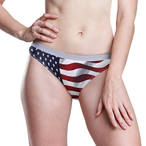 FANTAZIO Amerikanische USA-Flagge Damen Tangas Atmungsaktiv Panties Bikini Unterwäsche Gr. 36, 1