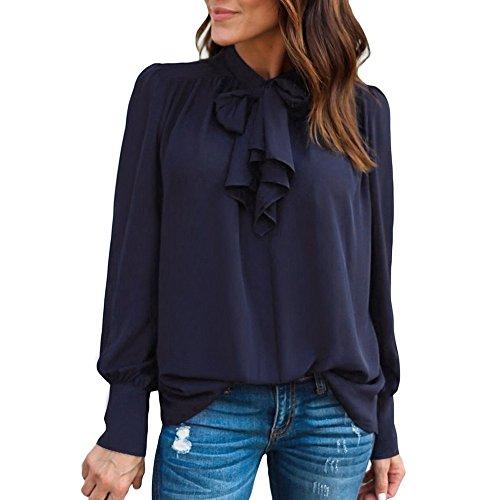 FRAUIT Dames boogtop shirt lange mouwen chiffonblouse slipenshirt T-shirt met strik V-hals effen tops mode elegant masquerade dansparty tafelkleed