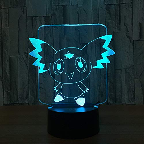 Anime Animal Elves 3D LED Lámpara de ilusión Luz nocturna Mesita de noche óptica Luces nocturnas 16 Cambio de color Botón táctil Decoración Lámparas de escritorio,