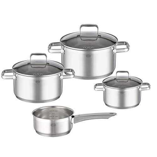 RÖSLE CHARM - Batería de cocina (4 piezas, 3 ollas y 1 cazo con mango, acero inoxidable 18/10, tapa de cristal, escala interior, apta para inducción, apta para lavavajillas
