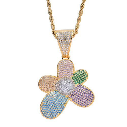 Dxnbp Iced Out Hip Hop Bling Colorful Flowers Pendant Necklace 18k Gold Plated Simulated Diamond Cubic Zirconia Necklace For Women Men Gift