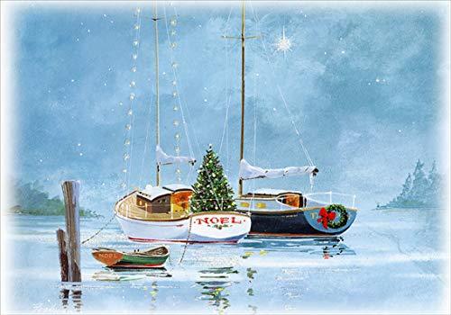 Noel Sailboats at Twilight Box of 18 Red Farm Studios Nautical Christmas Cards