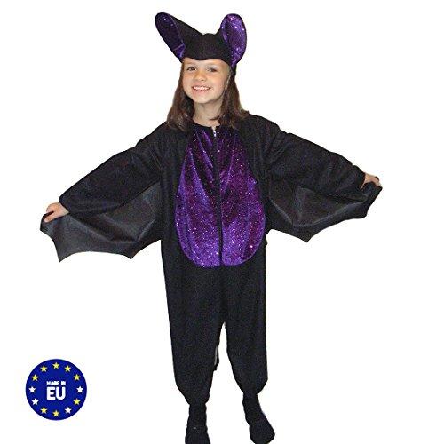 Krause & Sohn Kostüm Fledermaus Blacky II Gr. 104, 116 Overall Mütze Halloween Kinder Fasching (116)