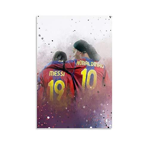 EWYU Messi and Ronaldinho Leinwand Kunst Poster und Wandkunst Bilddruck Moderne Familienzimmer Dekor Poster 12x18inch(30x45cm)