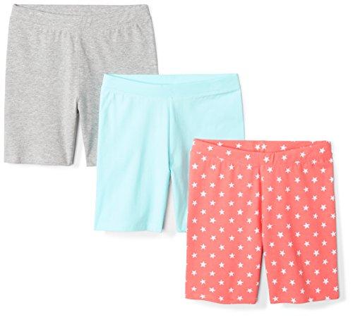 Amazon Brand - Spotted Zebra Kids Girls Bike Shorts, 3-Pack Coral Star, X-Small