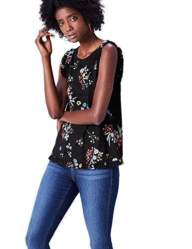 Amazon-Marke: find. Damen Ärmellose Bluse mit Blumenmuster, Mehrfarbig (Black Mix), 34, Label: XS