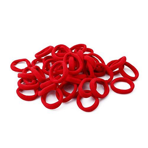 Gluckliy 100 Pièces Cheveux Elastique Cravates Cheveux Queues de Cheval Élastiques à Cheveux pour Femme Fille Enfant Bandes de Cheveux Chouchou Accessoires (Rouge)