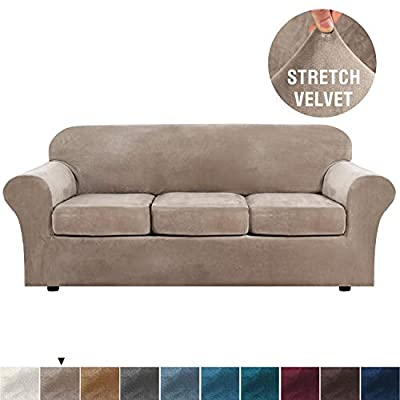 H.VERSAILTEX Modern Velvet Plush 4 Piece High Stretch Sofa Slipcover Strap Sofa Cover Furniture Protector Form Fit Luxury Thick Velvet Sofa Cover for 3 Cushion Couch, Machine Washable(Sofa,Taupe)