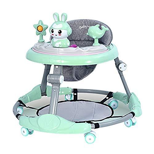 NHK-MX Andador para bebé Multifunción de Actividades o tacatá Ruedas Silenciosas Plegable Carga máxima 25 kg para niños y niñas de 6 a 18 Meses (Color : Green)