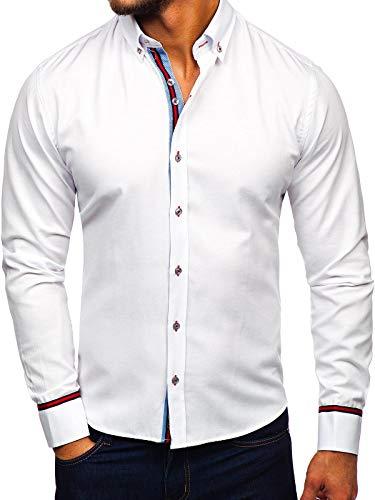 BOLF Herren Hemd Elegant Langarm Bussines Slim Fit Knopfleiste Casual Style 5801-A Weiß L [2B2]