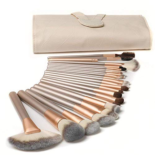 Make up Pinsel TTRWIN 18pcs professionelles Makeup Pinselset Geschenkset (Rosé gold) für das Concealer Liquid Foundation Blusher Eye Makeup mit exquisiter beige Ledertasche