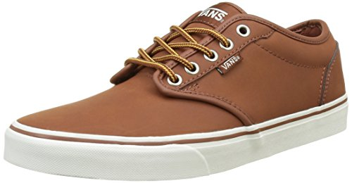Vans Men's Atwood Low-Top Skateboarding Sneakers (11.5, (Leather) Brown/Marshmallow)