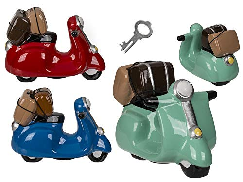 Topshop24you 1 x wunderschöne Sparbüchse,Sparschwein,Urlaubskasse,Reisekasse,Spardose Motorroller aus Keramik