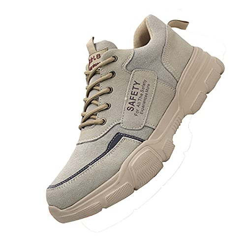 Transpirable Zapatos de Seguridad Trabajo Punta,Hombre Mujer Transpirable Ligeras con Puntera de Acero Calzado de Zapatos de Trabajo Industrial y Deportiva,Beige▁44