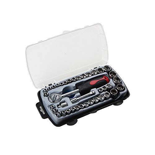 IOIOA 40-pièces Mécanique métriques Accueil Automobile Réparation Moto Boîte à Outils Socket Bit Set Set Manches Tournevis Kit Clé à cliquet