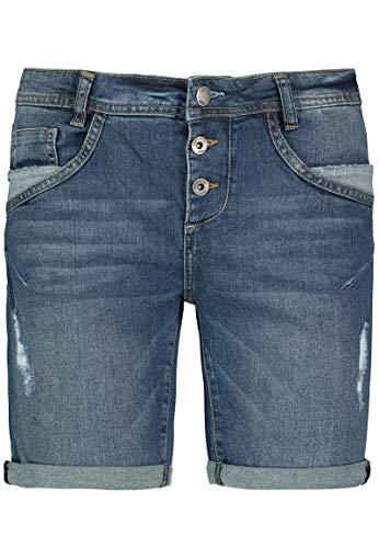 Fresh Made Fresh Made Damen Boyfriend Jeans Bermuda-Shorts im Used Look Dark-Blue XL