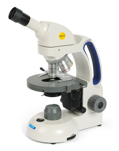 Swift Optical M3602C-4 Educational 'Student-Proof' Monocular Compound Microscope, Widefield 10x/18mm Eyepiece, 4x, 10x, 40xR, 100xR Achromat Objective, LED Illuminator Light Source, 110V/220V