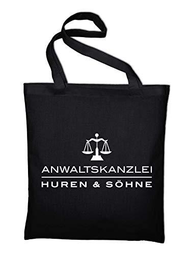 Styletex23 Anwaltskanzlei Huren und Söhne Fun Jutebeutel Shopping Bag, schwarz