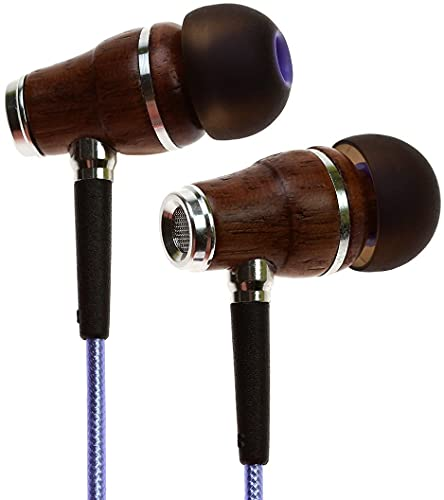 Symphonized NRG 2.0 Wood Earbuds Wired, in Ear Headphones with Microphone for Computer & Laptop, Noise Isolating Earphones for Cell Phone, Ear Buds with Booming Bass (Metallic Purple)