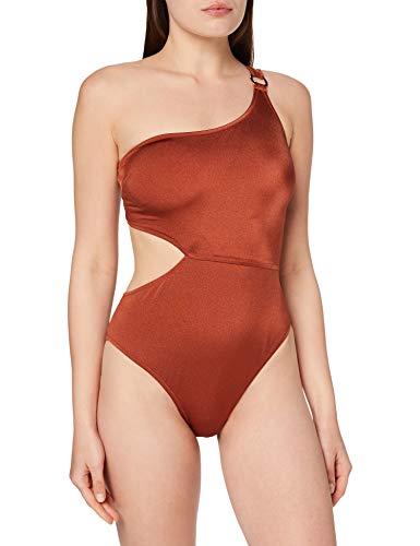 Marca Amazon - IRIS & LILLY Bañador con Aberturas Mujer, Rojo (Sumatra), S, Label: S