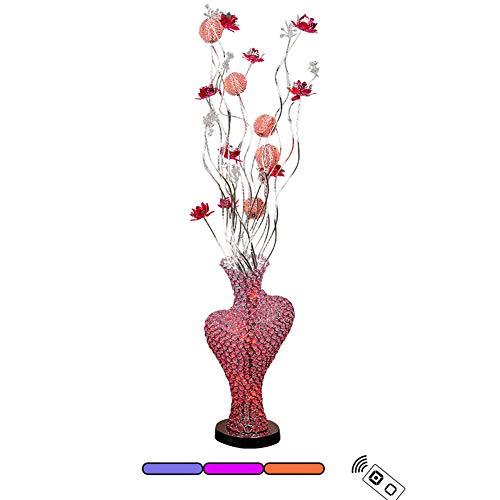 ZMLG Standleuchte Wohnzimmer Modern, 3 Farbtemperaturen Stehleuchte LED Dimmbar mit Fernbedienung Stehlampe Blütenform Perfekt Dekorative Lampe,Rot