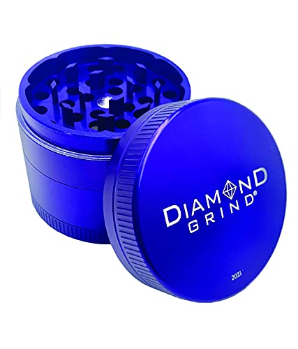 New Diamond Grind 2021 Edition 4 Piece Aluminum Herb Grinder with screen 50mm (2.00') NAVY BLUE