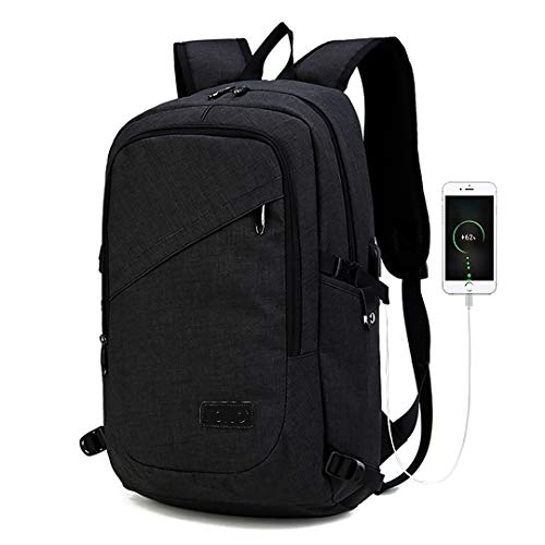 Kono Laptop Backpack with USB Charging Port Business Notebook Anti-Theft Rucksack 15 Inch Tablets Daypack Water Resistant Bag for Work College (Black)