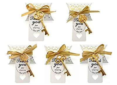 Kinteshun Wedding Party Favor Set,Skeleton Key Bottle Openers Candy Boxes Escort Tags and Ribbon Souvenir Gift Set(Gold Tone,50 sets with 5 Styles)