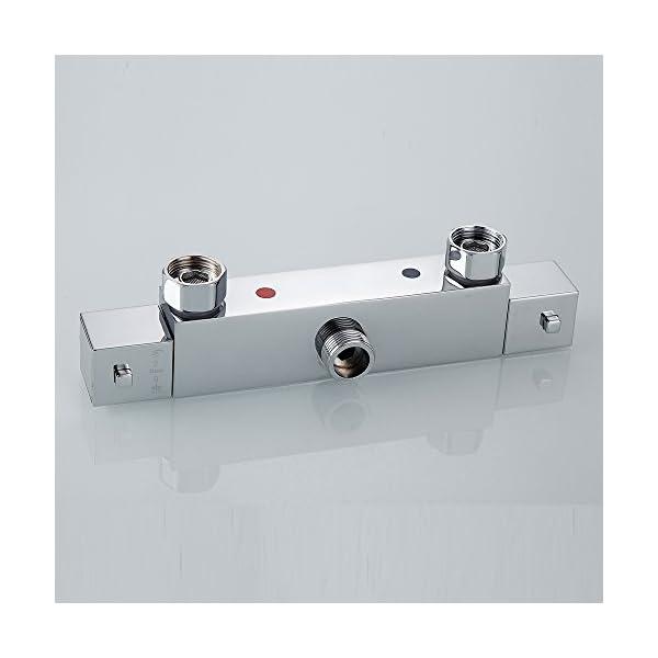 Termostática Bañera Ducha Mezclador Grifería Moderno Cuadrado Cromo Doble Salida Termostática Válvula Anti Escalda…