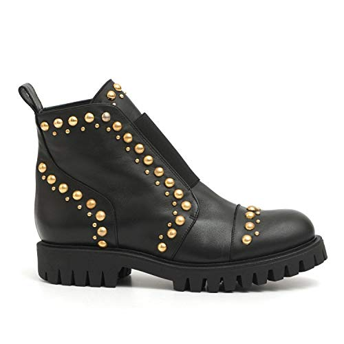 RAS - Ankle Boots in Leather with Studs - 8857SMOOTH Black - 37