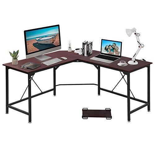 GRANDMA SHARK Eckschreibtisch, L-förmiger Schreibtisch, Gaming Schreibtisch, Gaming Tisch, Computertisch, Bürotisch Computer Workstation (Nussbaum, 140 × 140 × 75 cm)