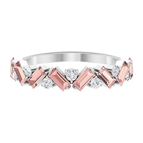 Rosec Jewels 18 quilates oro blanco baguette round-brilliant-shape H-I Diamond Laboratorio de morganita creado