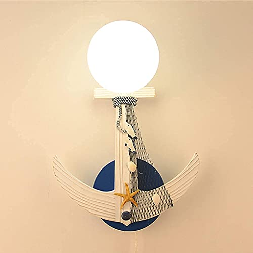 FXLYMR Wall Lamp Chandelier Luxury Fashion Creative Anchor, Mediterranean Children'S E27 Bedroom Bedside Lamp Guys Mushes Student Home Lights