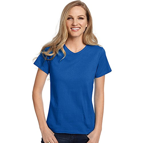 Hanes Relaxed Fit Women's ComfortSoft V-Neck T-Shirt_Deep Royal_XL