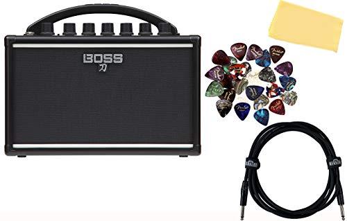 Boss Katana Mini Battery-Powered Guitar Amplifier Bundle with Instrument Cable, 24 Picks, and Austin Bazaar Polishing Cloth