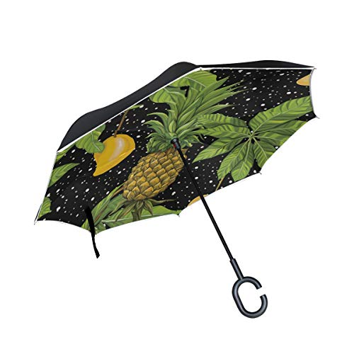 Gelbe Ananas Mango Double Layer Folding Anti Uv Schutz Winddicht Regen Gerade Autos Golf Reverse Inverted Umbrella Stand Mit C förmigen Griff