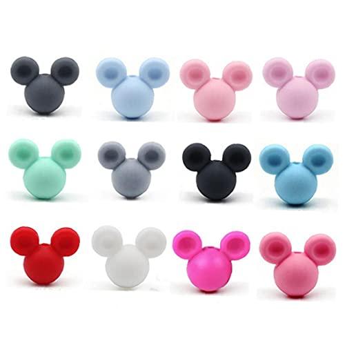 Ruluti 10pcs De Silicona Mickey Mordedor con Masticación De Los Dientes De Los Granos DIY Collar Pendiente Accesorios De Bebé (Color Azar)