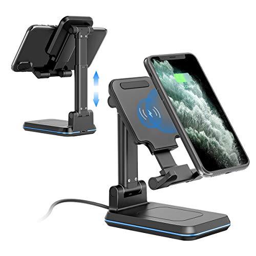 Chargeur Sans Fil, Qi Chargeur à Induction Rapid 10W/7,5W/5W Universal, Support Telephone Chargeur Bureau pour iPhone11/Pro/Max/XS/XS Max/XR/X/8 et Samsung S20/S10/S9/S8/S7/Note 10/9