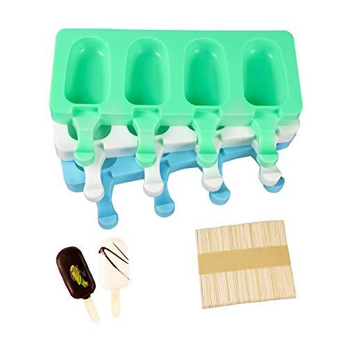 【Aktualisiert】CEILIWEN 3 STÜCK DIY Eiscremeform Popsicle Formen Set, Silikon Gefrorene Eisform,Eis Am Stiel Pop Form, LFGB Geprüft und BPA Frei Ice Lolly Formen mit 50 Stöcken (3 Stück Eisformen)