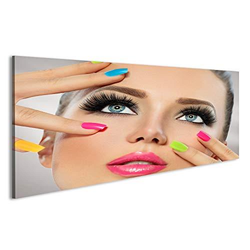 bilderfelix Acrylglasbild Glasbild Schönheitsmädchengesicht mit Buntem Nagellack Maniküre und...