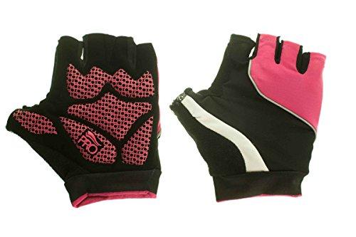 Crivit Pro® Damen / Herren Fahrradhandschuhe - Gel Polster - 3M Scotchlite? Schwarz/Pink 8,5