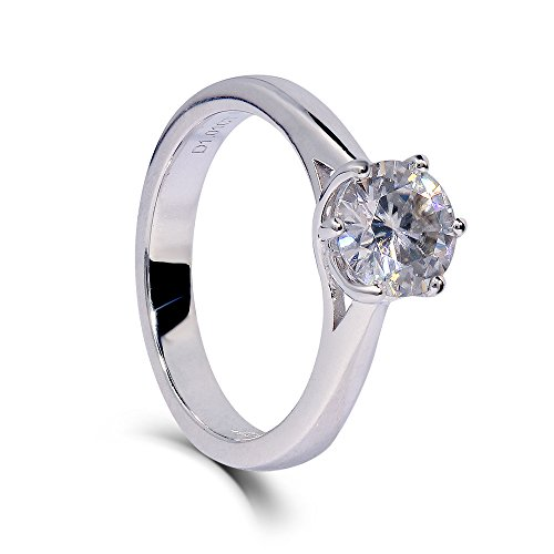 DovEggs Platinum Plated Silver 1ct 6.5mm G-H-I Color Heart Arrows Cut Moissanite Engagement Ring Solitare for Women (6.5)