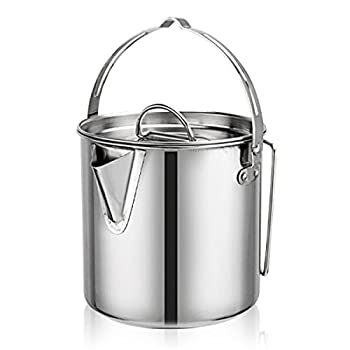 Cyberone 1.26QT Stainless Steel Coffee Pot Teapot Cooking Kettle with Lid and Foldable Handle for Camping Hiking Fishing Picnic